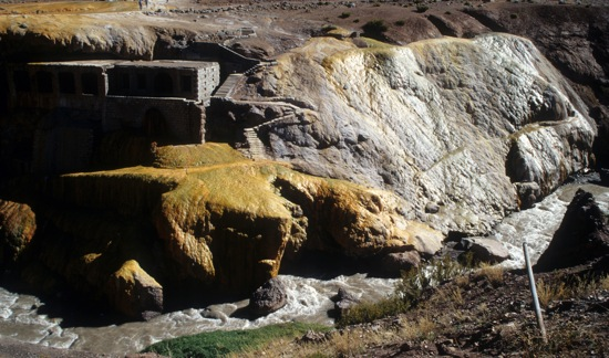 Puente del Inca on Uspallata Pass at 9,000 feet on Pan American Highway Argentina to Chile